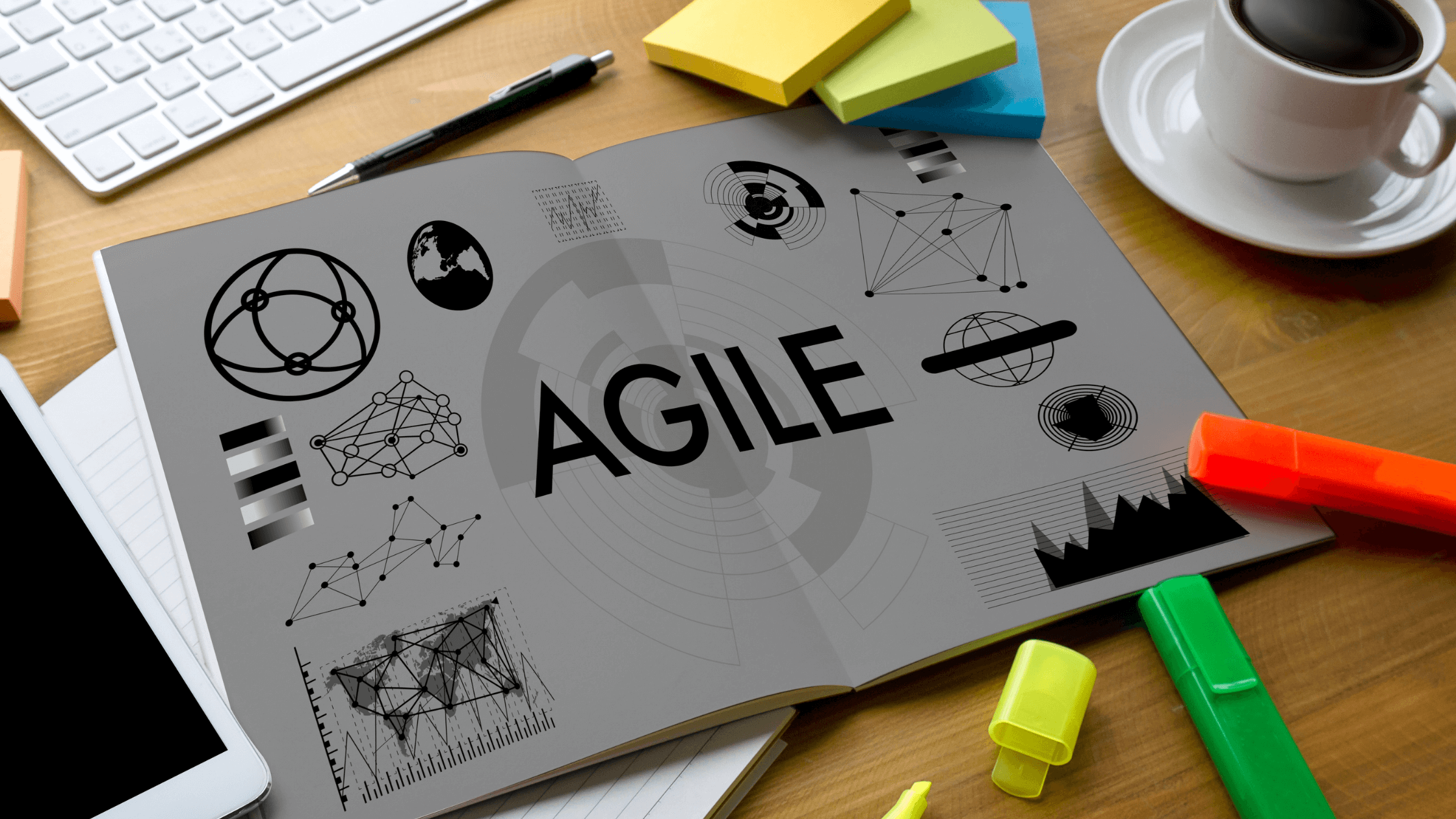 Agile analytics graphic above office desk